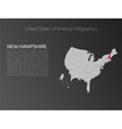 USA map infographics template with highlighted New vector image