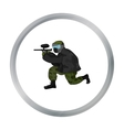 Paintball player icon in cartoon style isolated on vector image