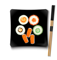 Japanese seafood sushi on a black square plate vector image