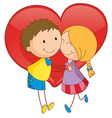 Couple and heart vector image