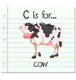 Flashcard letter C is for cow vector image
