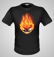 t shirts Black Fire Print man 14 vector image