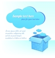 Blue plastic cloud and box of clouds with pattern vector image