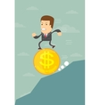 Business man falling on a dollar coin vector image