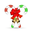 Christmas candy cane with red bow vector image