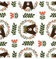 christmas seamless pattern with cute bear vector image