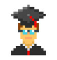 graduation cap student avatar pixel art cartoon vector image