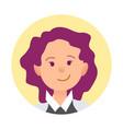 portrait of joyful woman closeup icon in circle vector image