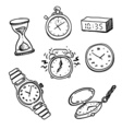 Set of clocks and watches vector image vector image