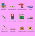 The electricians tools icons set vector image