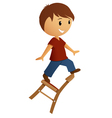 Boy in red shirt balance on the chair vector image vector image
