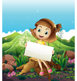 A happy girl sitting above the stump while holding vector image vector image