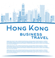 Outline Hong Kong skyline with blue buildings vector image