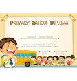 Diploma template with children and schoolbus vector image vector image