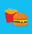 burger hamburger and french fries vector image