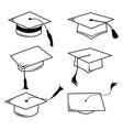 congratulations hat graduation line icon vector image