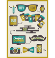 Hipster cafe menu - set of design elements vector image