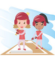 pretty woman athlete playing baseball vector image