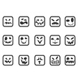 square scary face icons set vector image