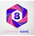 Eight number colorful logo in the hexagonal on vector image