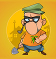 cartoon puzzled man cottager with a shovel vector image