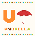 alphabet for children letter u and an umbrella vector image vector image