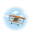 A vintage propeller-powered aircraft in the sky vector image