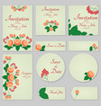 collection greeting cards with stylized orange vector image