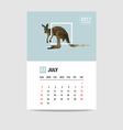 2017 July calendar Kangaroo polygon vector image