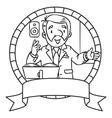 Funny university lecturer Emblem vector image