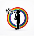 a little boy blowing soap bubbles graphic vector image