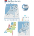Netherlands maps with markers vector image vector image