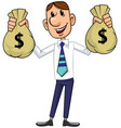 businessman with cash bags vector image