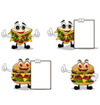 four sandwich cartoon with different poses vector image