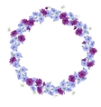 Detailed contour wreath with anemone flowers vector image