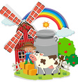Farmer and cown in the farm vector image vector image