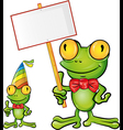 frog cartoon with signboard vector image