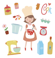Young girl preaparing sweet food vector image