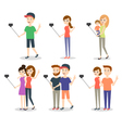people making selfie Couples and friends woman vector image