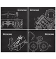 set of backgrounds with technical drawings by hand vector image