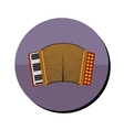 accordion with keyboard in round frame vector image