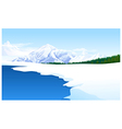 Panoramic view snowcapped landscape vector image