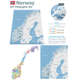 Norway maps with markers vector image