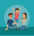 colo scene of family group sitting man with soda vector image