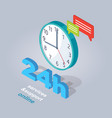 24 hours service and support online vector image
