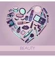 Flat of cosmetic elements vector image