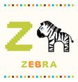 alphabet for children letter z and a zebra vector image