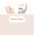 Baby shower card with twins little boy and girl vector image