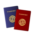 Blue and Red Passports Isolated on White vector image