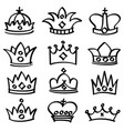 luxury doodle queen crowns sketch vector image